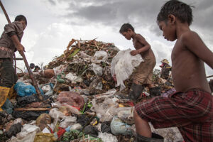A young scavenger boy at the Anlong Pi landfill in Siem Reap, Cambodia
